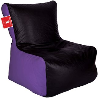 ComfyBean - Clemenzo - Bean Chair - Size Kids - Filled With Beans Filler Black Purple