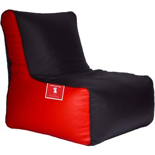 ComfyBean - Clemenzo - Bean Chair - Size Kids - Filled With Beans Filler Black Red