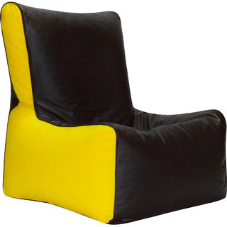 ComfyBean - Clemenzo - Bean Chair - Size Kids - Filled With Beans Filler Black Yellow