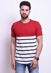 Odoky Red and White Printed Round Neck Casual T-Shirt For Men NR