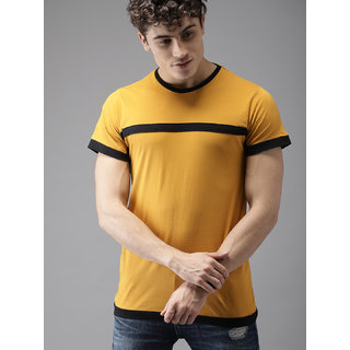 Axxitude Men's Mustard & Black Patti Round Neck T-Shirt