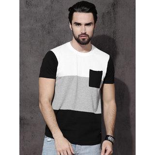 Axxitude White Grey Black Pocket Half Sleeves Cotton T-shirt