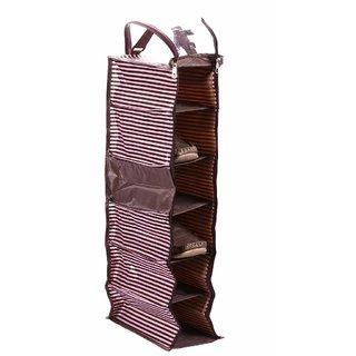 PrettyKrafts Multi Compartment Shoe Rack - Hanging Shoe Organiser - Travel Show Kit - Dark Pink