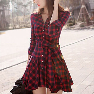 Aiyra Red Cotton Self Design Shirt Collar Dress