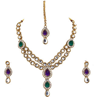 Lucky Jewellery Designer Purple Green Color Stone Kundan Double Locket Necklace Set With Earring And Tikka For Girls  Women
