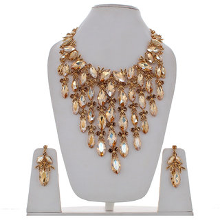 Lucky Jewellery Designer LCT Color Stone Rhine Stone Gold Plated Long Necklace Set With Earring For Girls  Women