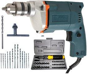 Tiger 10mm Electric 350W Drill with 13 Drill Bit Set + 41 Pcs (Including Box) Screwdriver Kit Set
