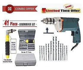 Tiger Combo Of 10 mm 350W Drill Machine + 13 Drill Bit Set + 41Pcs Tool Kit Set