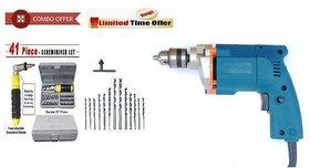 Dee Power Combo Of 10 mm 350W Electric Drill Machine + 13 Drill Bit Set + 41Pcs Tool Kit Set