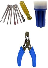 Bizinto Iron Screw Driver Set With Line Tester and 8 Bits with free Cutter Plier