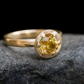 Adjustable  Ring  Yellow Sapphire Gold Plated Ring Natural & Certified Stone Pukhraj 4.25 Carat Stone  Ring BY CEYLONMINE