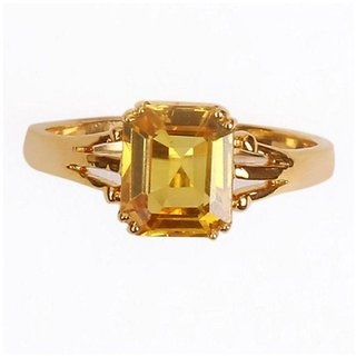 Astrological Gold Plated Gold Foil Stone Pukhraj Yellow Sapphire Ring BY CEYLONMINE