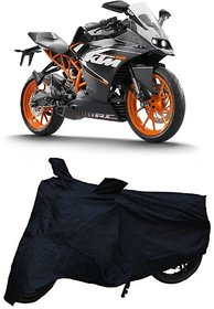 De-AutoCare Premium Quality Durable Black Matty Two Wheeler Dustproof Body Cover For Ktm 200 With Mirror Pockets