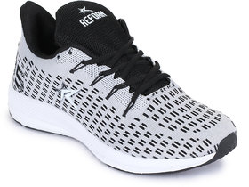 Refoam Men's Grey & White Flyknit Running Sport Shoes