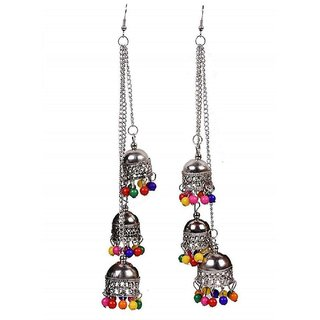 Yashi EnterprisesAfghani Kashmiri Oxidized Silver tripple jhumki Long Earrings - Multicolored Beads