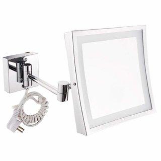 Kurvz Extending LED Light Magnifying Make up & shaving Mirror 8X8 Inch Square