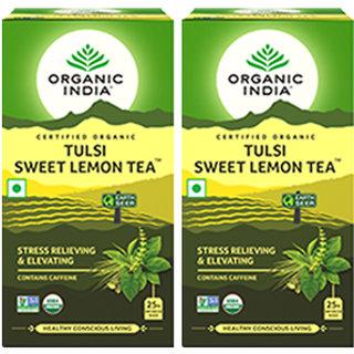 Organic India Tulsi Sweet Lemon 25 Tea Bags- (Pack Of 2)