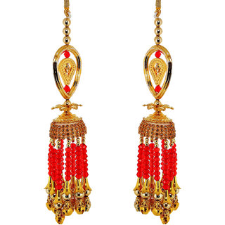 Lucky Jewellery Traditional Golden Red color gold plated kalira/kaleeray for women's and girls (264-N1K1-543-LCT-RED)