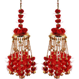 Lucky Jewellery Traditional Red color gold plated kalira/kaleeray for women's and girls (2160-QK1M-RV72-RED)