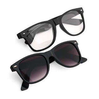 Pack Of 2 29k Black Transparent Wayfarer Uv Protected Sunglasses For Men