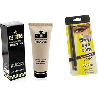 ADS WHITE INVISIBLE FOUNDATION with Kajal  (Set of 2)