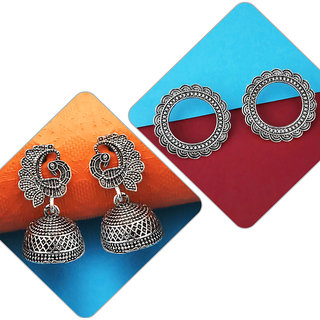 Meia Pack Of 2 Oxidised Earrings Combo