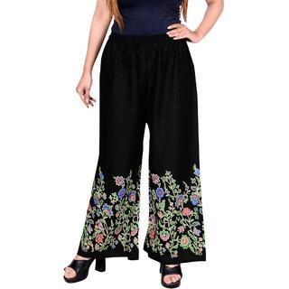 riya Women's Printed Palazzo (Black and White stripped) waist 28 to 32