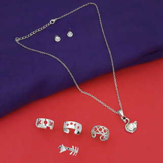Meia Zinc Alloy Pendant Set And Rings Combo