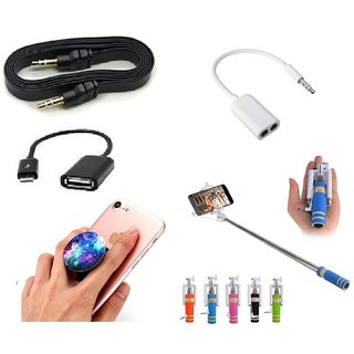 (S15) Combo of Selfie Stick, Popup Socket, Aux Cable, Splitter and OTG Cable (Assorted Colors)