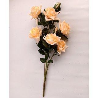 S N ENTERPRISES SNE4365 PEACH ORANGE ROSE ARTIFICIAL FLOWER BUNCH