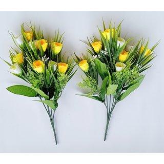 S N ENTERPRISES SNE5092 YELLOW TULIPS ARTIFICIAL FLOWER BUNCH (PACK OF 2)