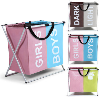 Smile Mom Twin Section Laundry Basket/Bag/Hamper (121 Litre) for Clothes with Foldable Aluminium Frame(Pink - Blue)