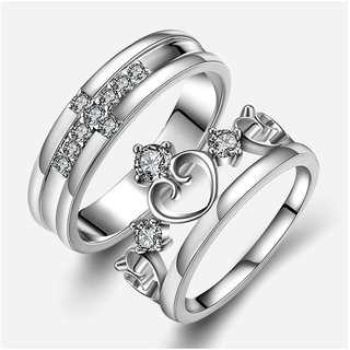 Men Style King Crown Queen Cross Adjustable 925 Crystal Proposal  Silver Stainless Steel Ring