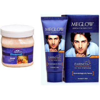 Meglow Premium Fairness Cream SPF-15 50gm, Pink Root Diamond Scrub 500ml