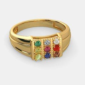 Natural Navgrah / Navratna Ring gold plated original nine gems ring by CEYLONMINE