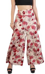Omikka Women's Wide Leg High Elastic Waist Floral Print Crepe Palazzo Pants Regular and Plus Size