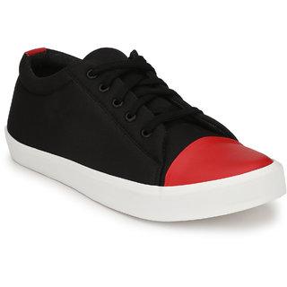 BUCIK Men's Black Synthetic Leather Smart Casual Sneakers