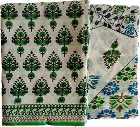 Amisvi Women's Designer Unstitched Salwar Suit Printed Cotton Dress Material (Green, Free Size)