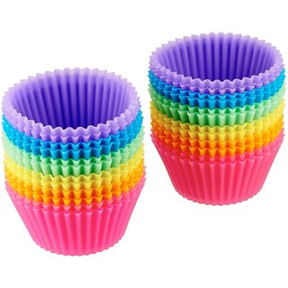 Godskitchen 24-Pcs Silicone Cupcake moulds bakeware Muffin bread cake caes molds, Reusable Nonstick  Heat Resisitant baking cups Cupcake baking Liners cases, random colors