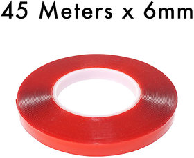 VCR RED Strong Acrylic Adhesive - Double Sided Heat Resistant - Transparent Adhesive Tape - (Polyester Tape) - 45 Meters in Length - 6mm Width - 1 Roll Per Pack