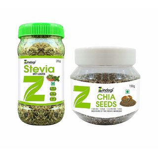 Zindagi Chia Seeds Stevia Dry Leaves (Combo Pack)