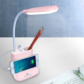 Zahab USB Rechargeable Energy Saving LED Desk Lamp Touch White and Warm Light Dimming Setting Table Lamp for Children