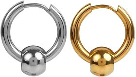 Men Style Punk Ball Circle Ring Piercing Christmas Gift Gold Silver Stainless Steel  Hoop Earring