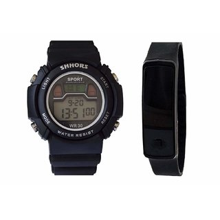 VITREND R TM  Latest Model Good Looking Stylish Shhors and Silicone LED Digital  Sports Combo Watches for boys and girls