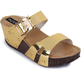 Walkfree Casual Gold Wedges