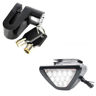 Spidy Moto Combo of Disc Lock Black and F1 Style Triangle 12 LED Rear Stop Tail 3rd Brake Light White for Universal Bike