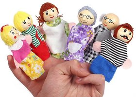 Kuhu Creations Supreme Happy Family Story Wooden Finger Puppets, Multi Color (Pack of 6)