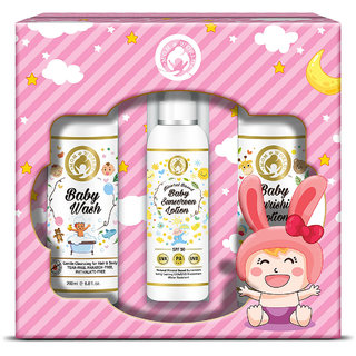 Mom World Baby Girl Kit - Wash + Baby Sunscreen Lotion + Baby Nourishing Lotion