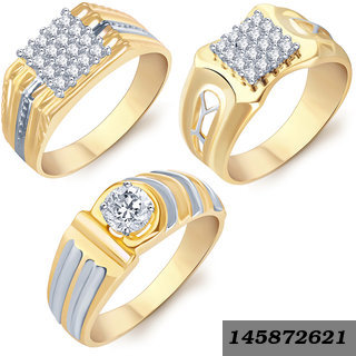 Astonish Gold Rhodium Plated Cz Set Of 3 Ring Combo For Men