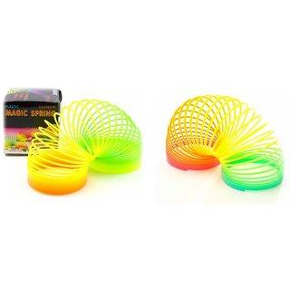 Nawani Rainbow Magic Plastic Spring Toy Set of 2- Bouncy Stretchy Slinkey.